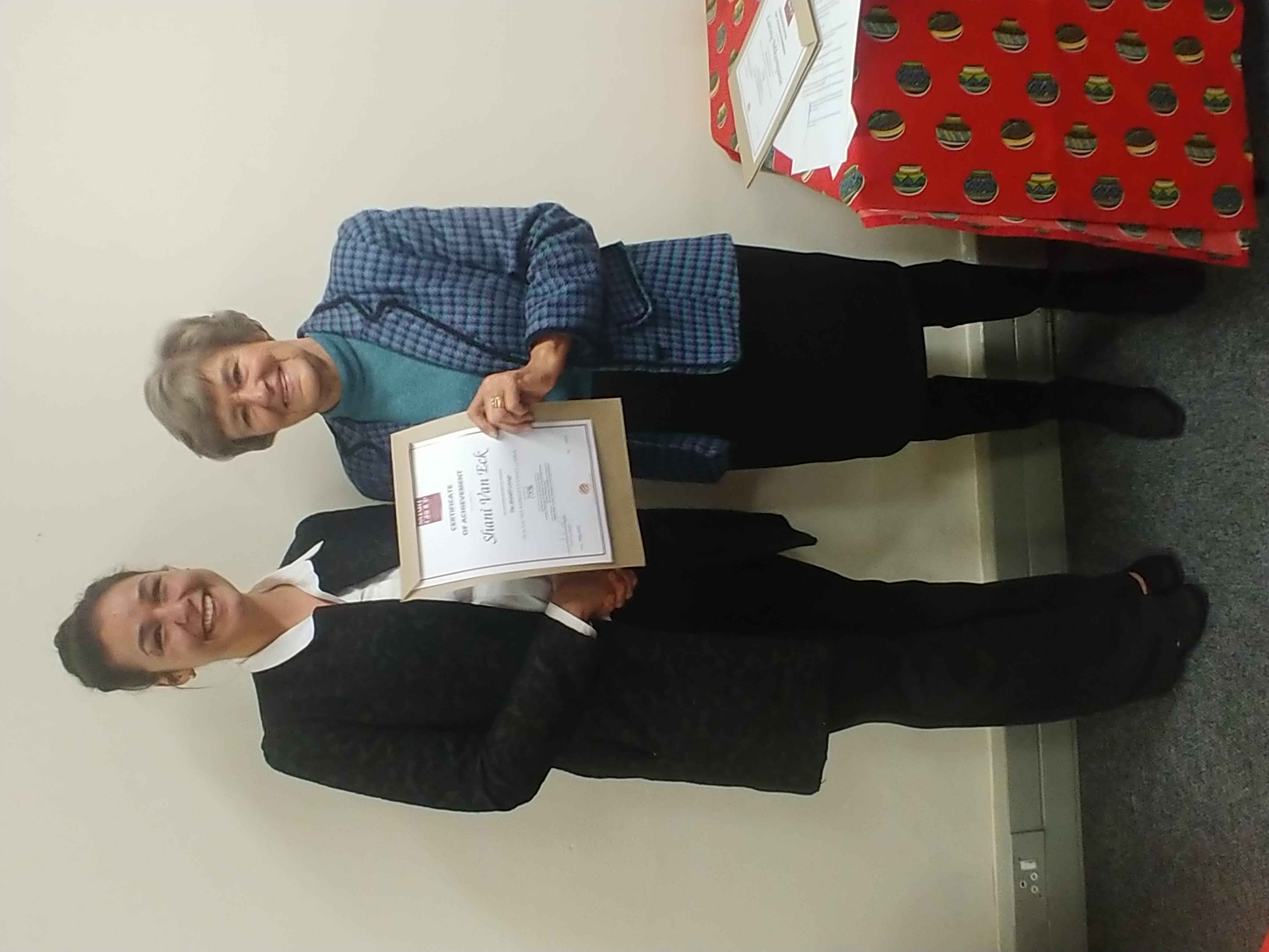 Congratulations Shani Van Eck